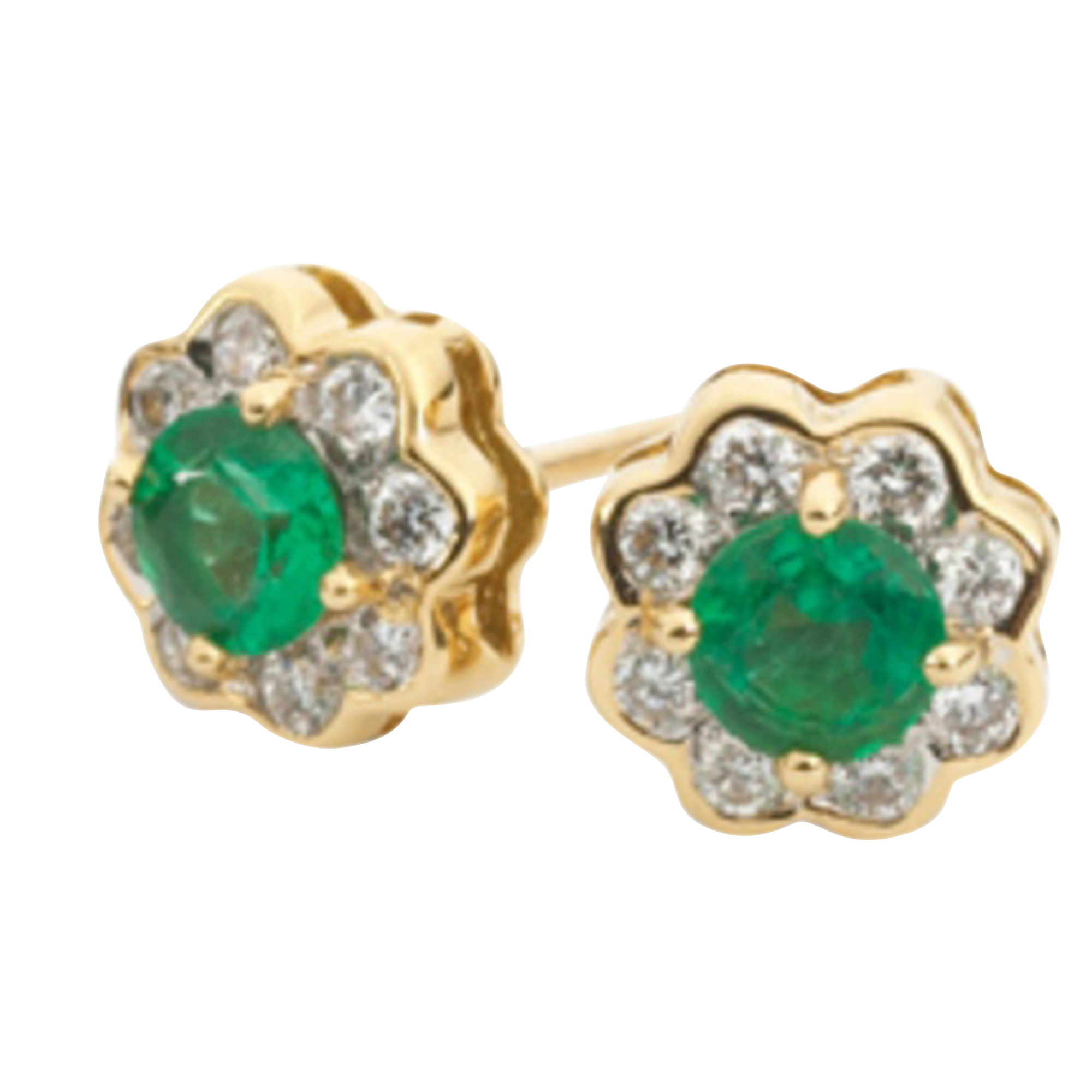 Emerald & Diamond 18ct Yellow Gold Cluster Stud Earrings