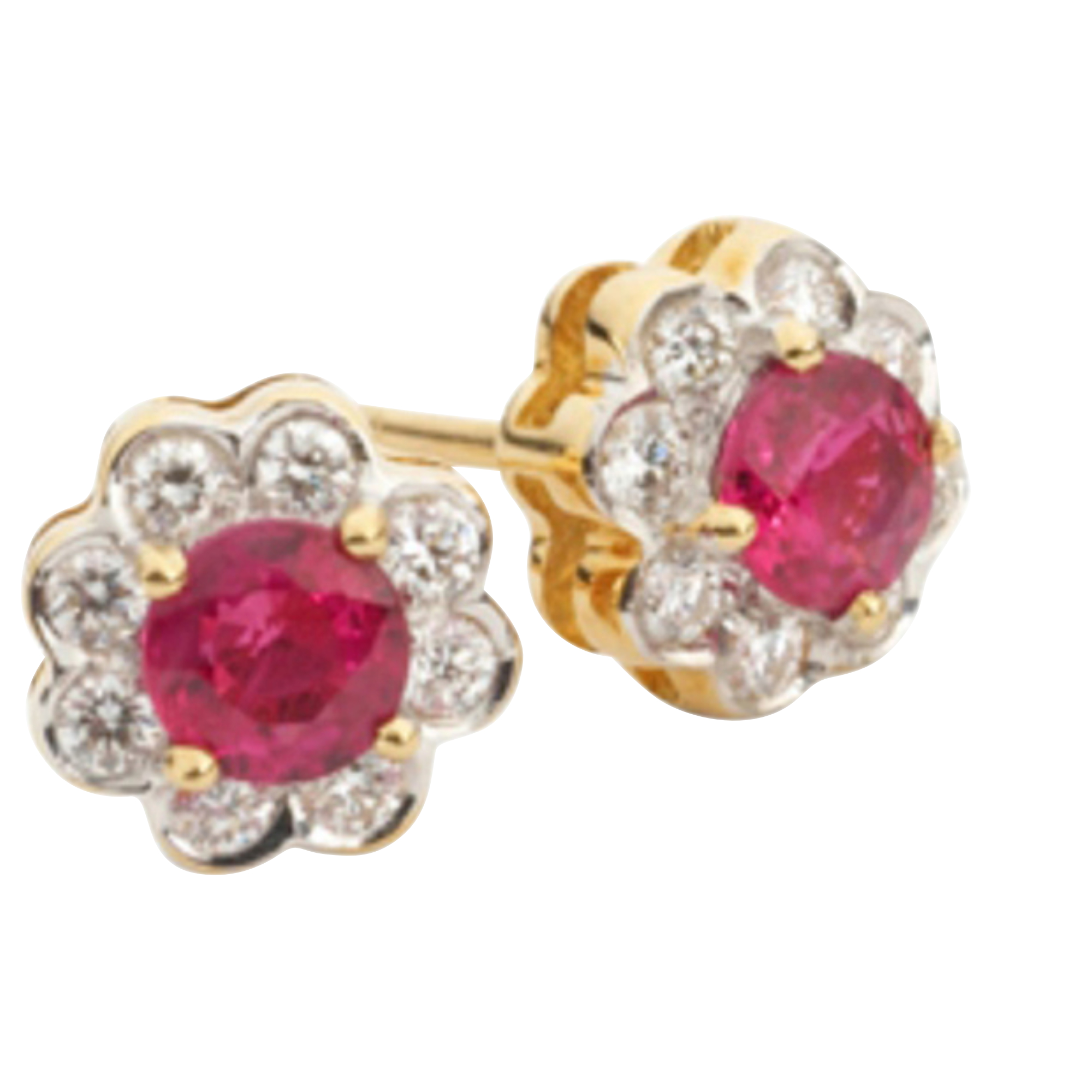 Round Ruby & Diamond Cluster 18ct Yellow Gold Earrings
