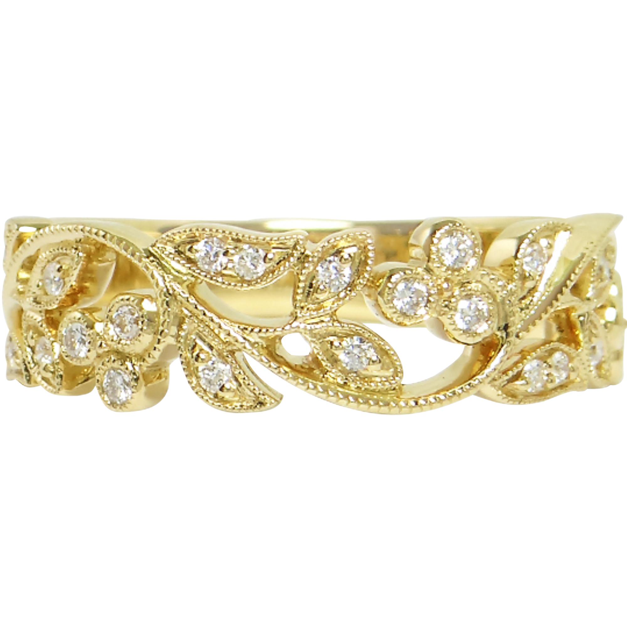 18ct Yellow Gold Filigree Half Eternity Ring