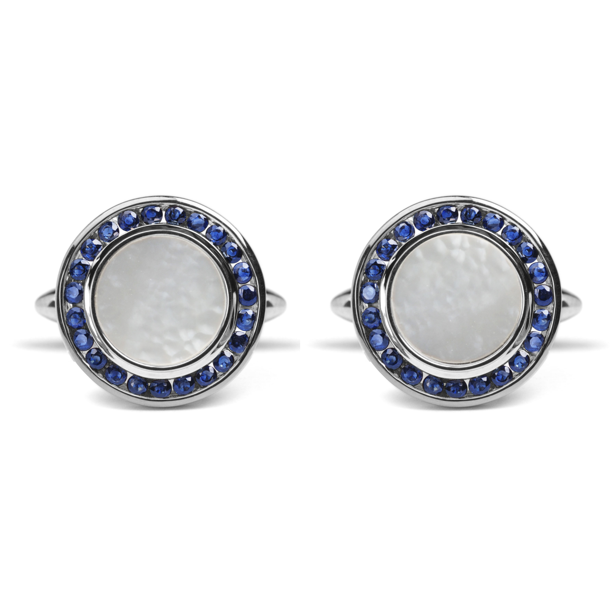 Mother Of Pearl Sapphire Amp 9ct White Gold Round Cufflinks