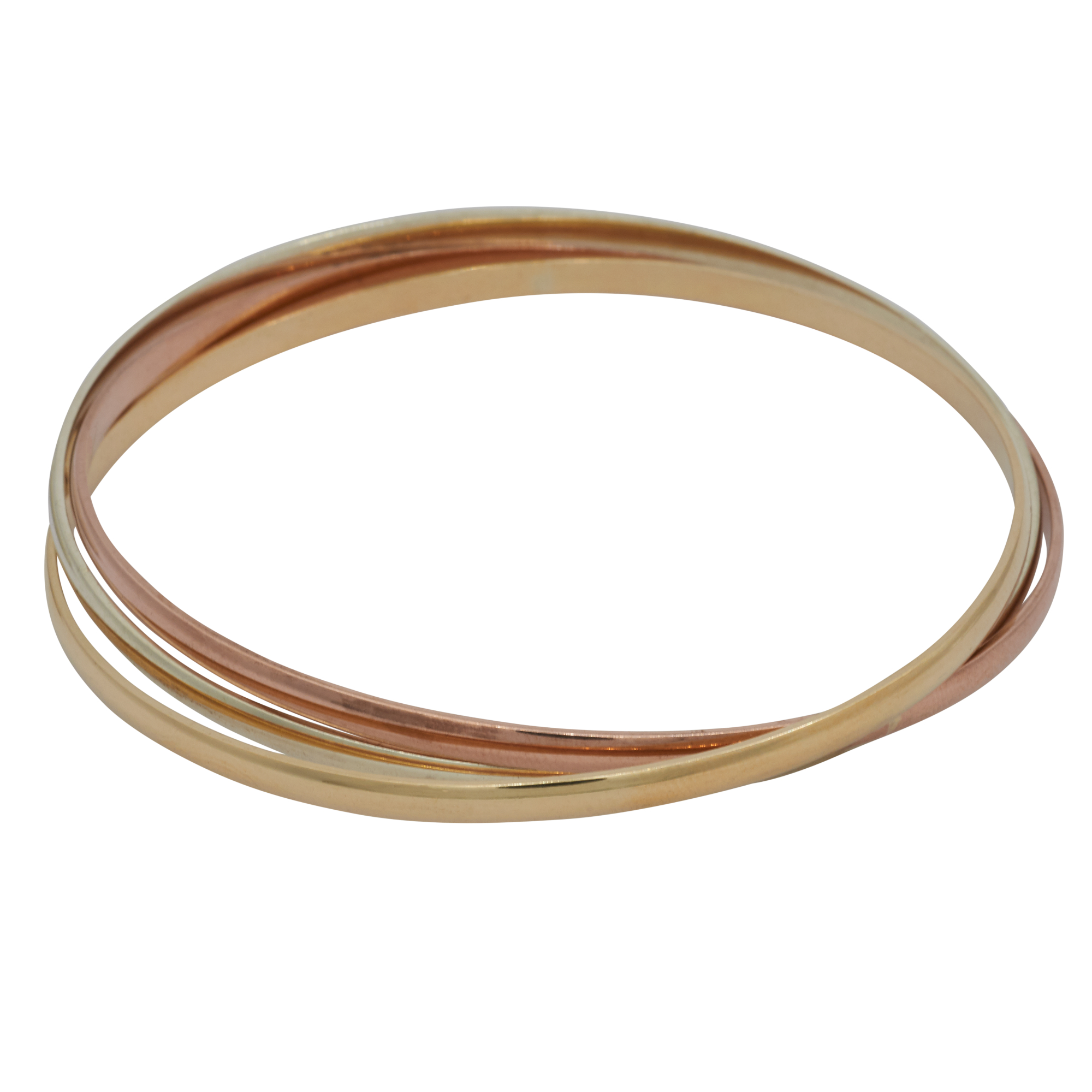 3 Colour 9ct Gold Russian Bangle