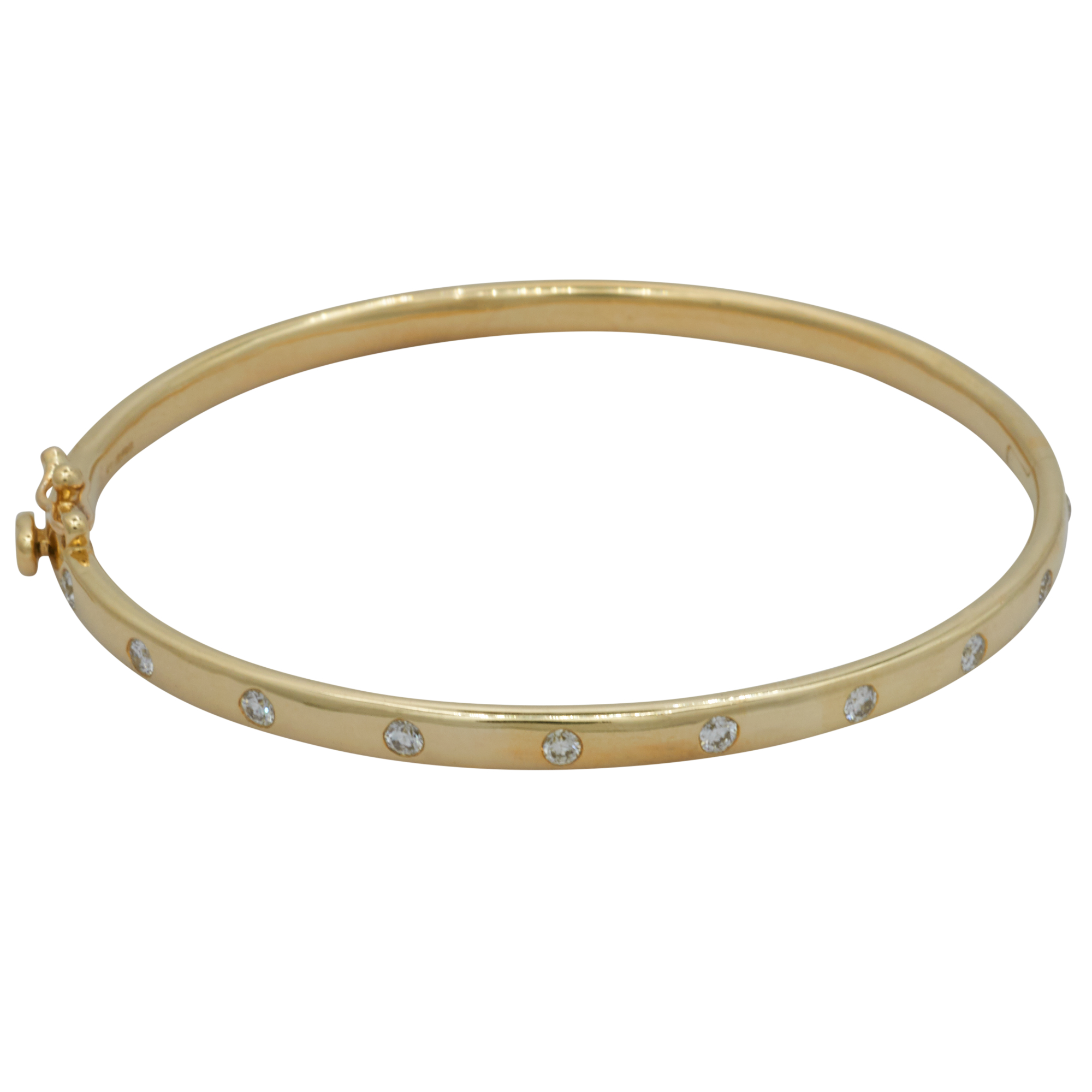 9Ct Yellow Gold Oval Hinge Bangle with Diamonds