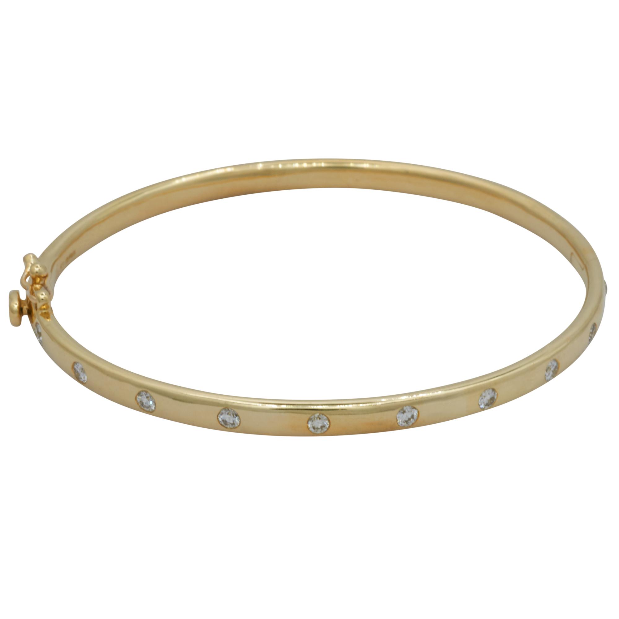 9Ct Yellow Gold Oval Hinge Bangle with Diamonds
