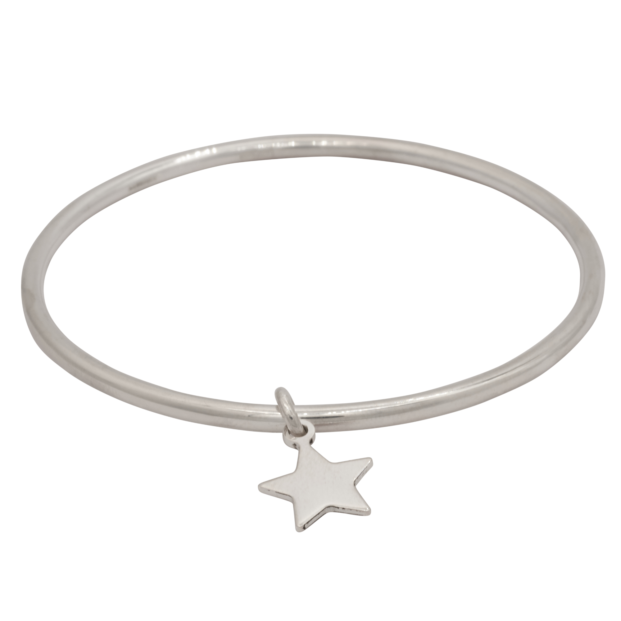 Round Stirling Silver Bangle with Star Charm
