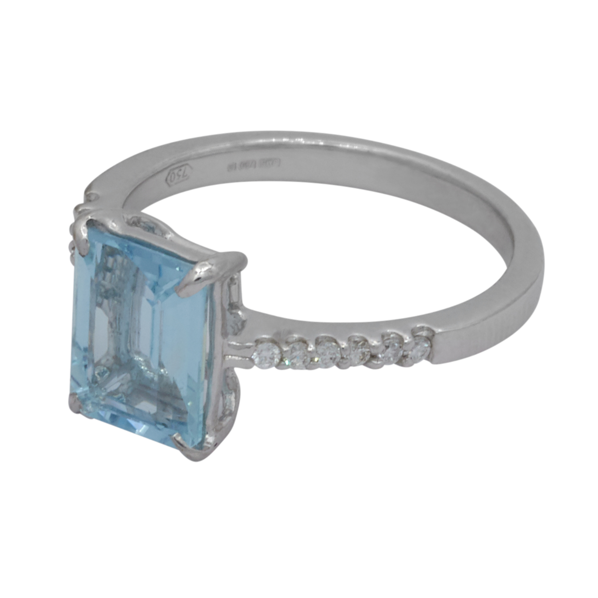 Octagon Aquamarine 18ct White Gold Ring with Diamond Shoulders
