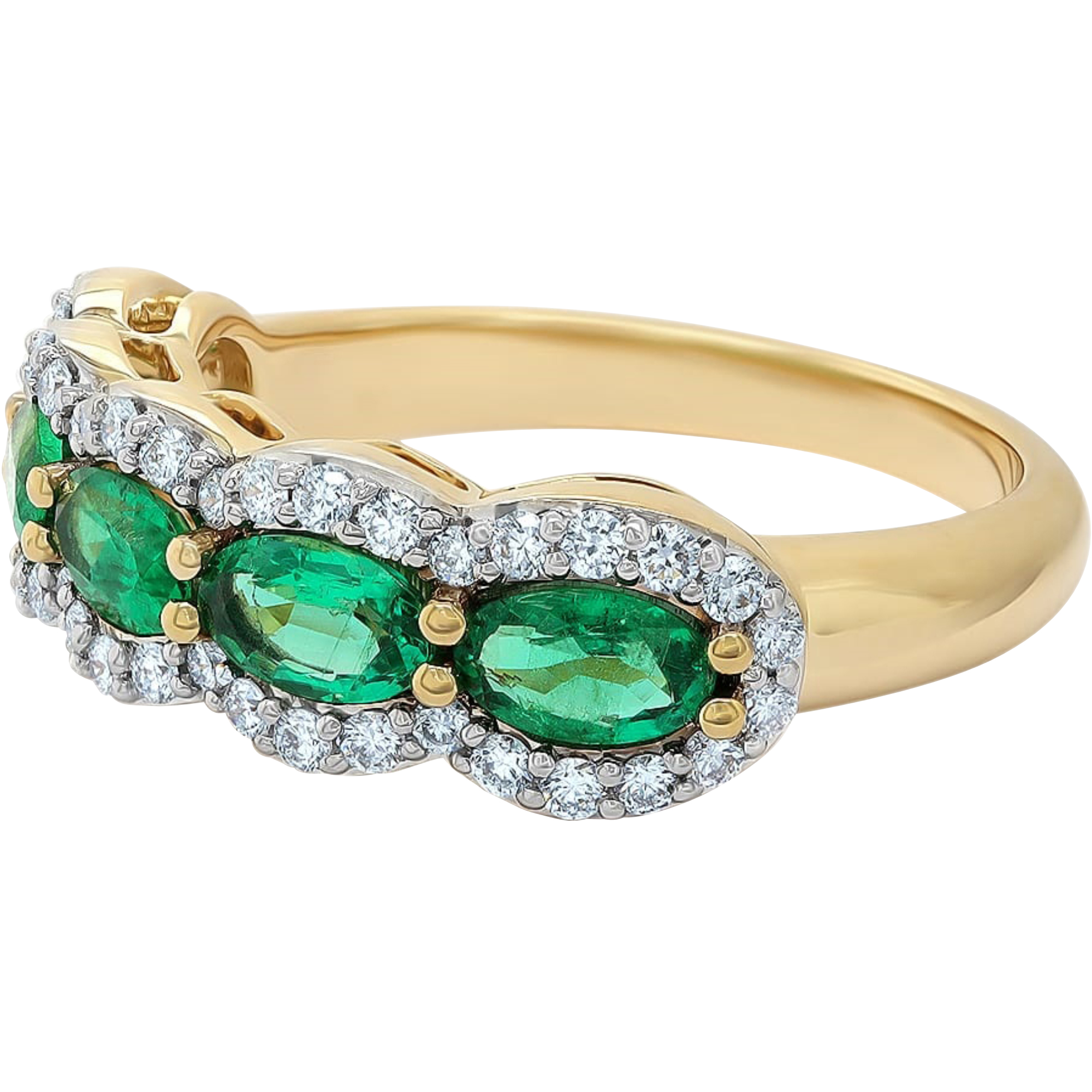 5 Stone Oval Emerald & Diamond Cluster 18ct Yellow Gold Ring