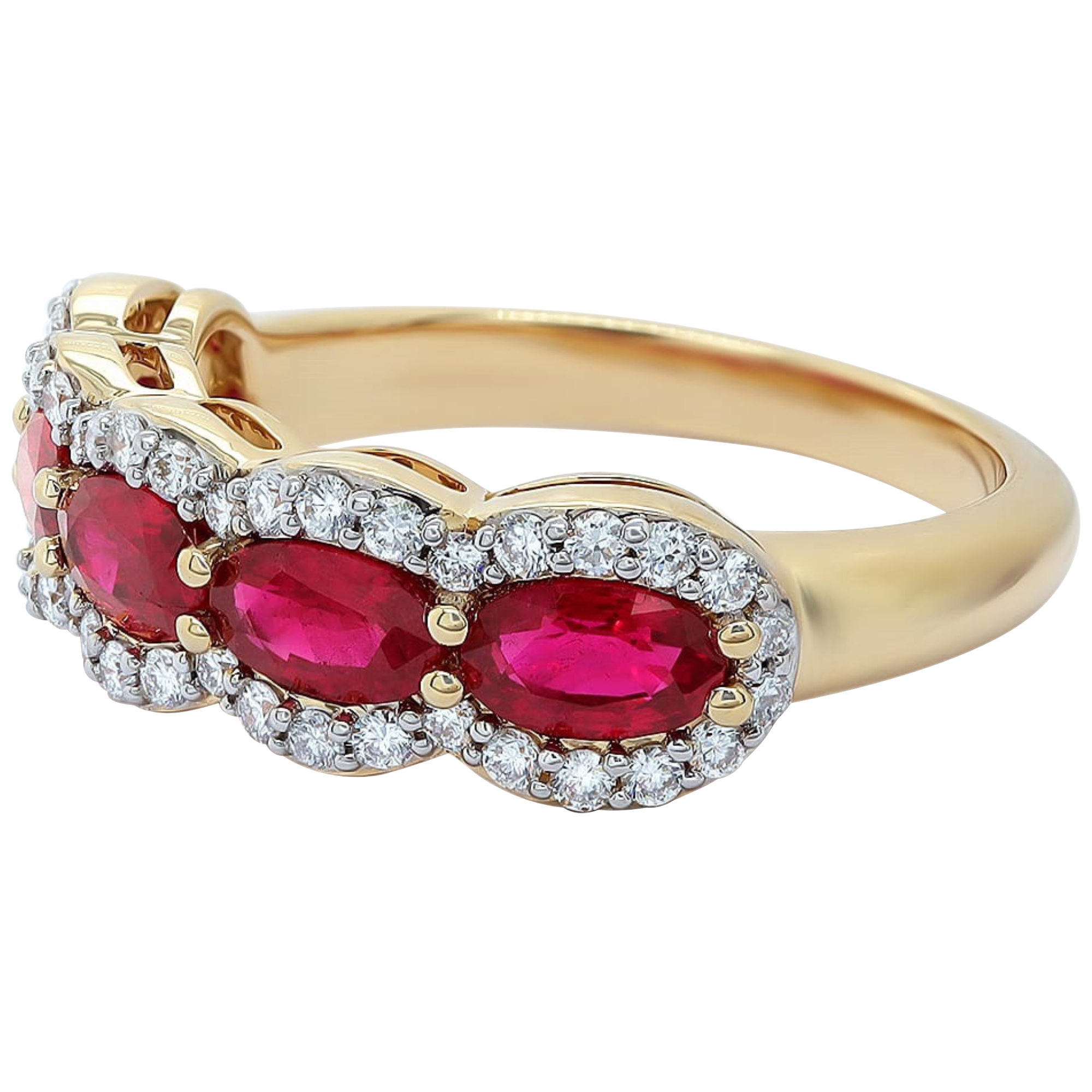 Oval Ruby 5 Stone Diamond 18ct Yellow Gold Ring