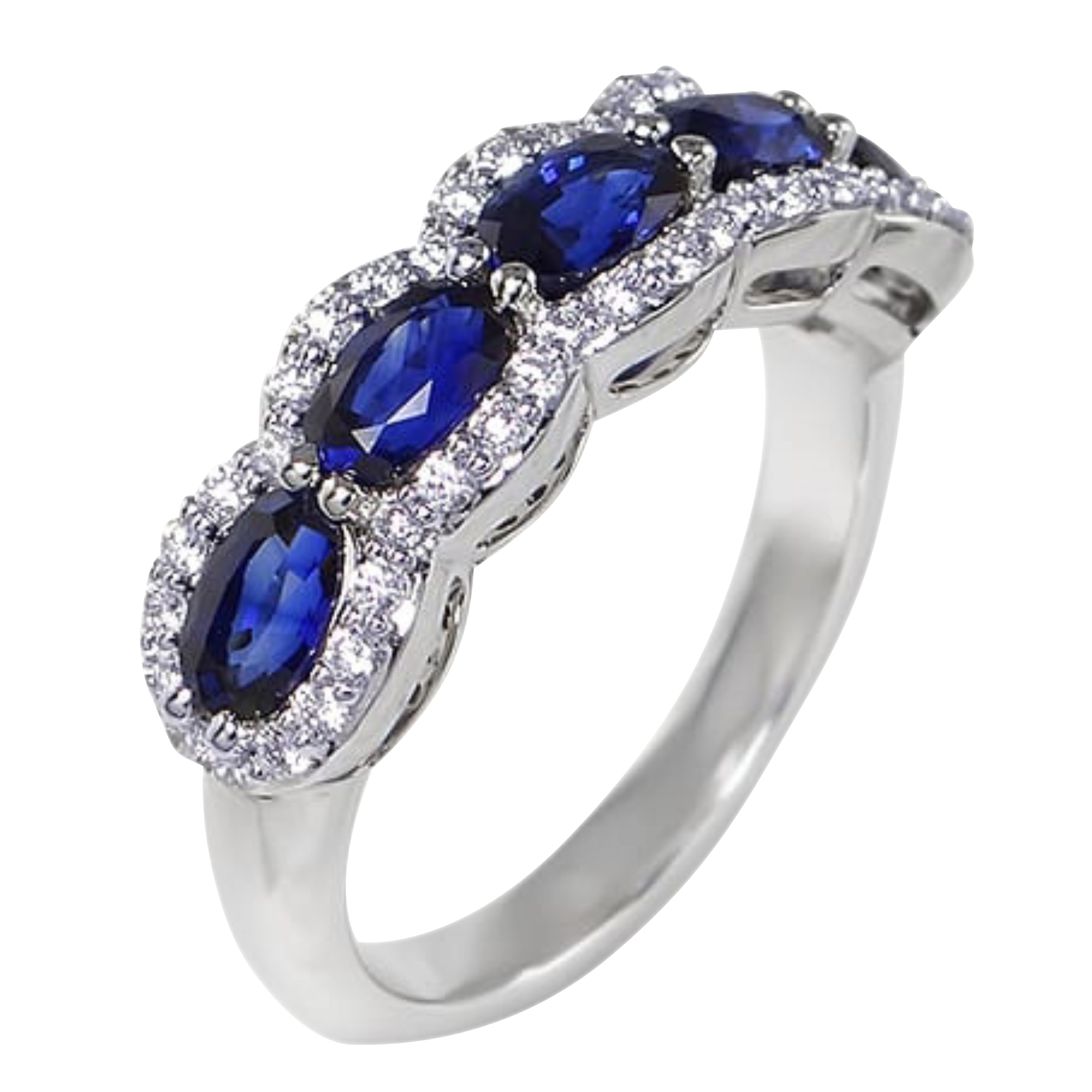 Oval Sapphire & Diamond Cluster 5 Stone 18ct White Gold Ring