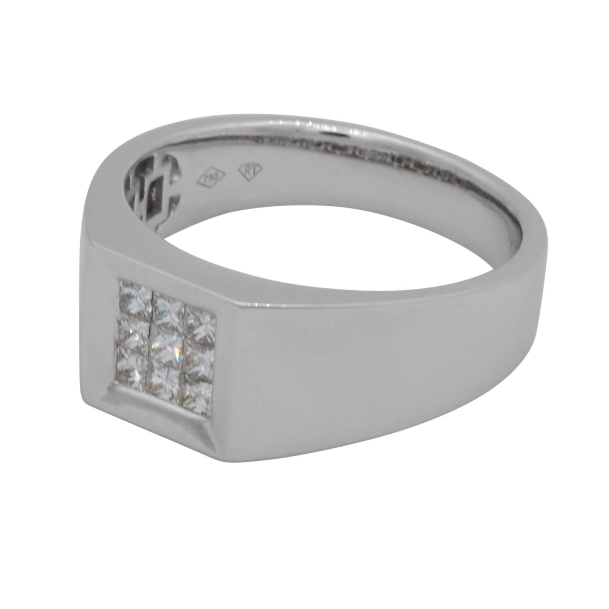 Mens 18ct White Gold and Diamond Ring