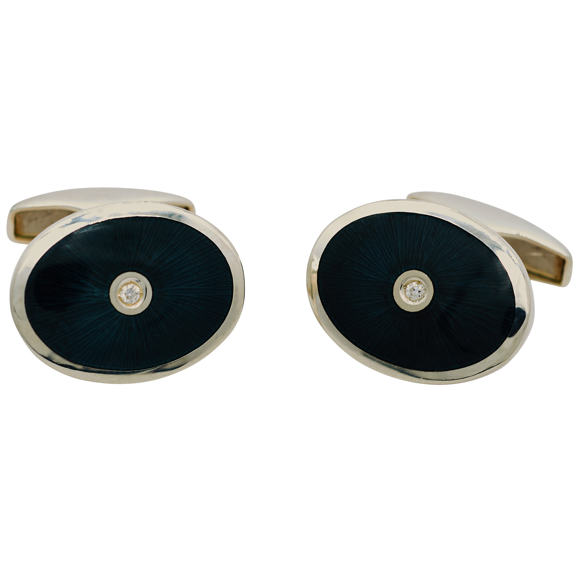 Sterling Silver Black Enamel Oval Cufflinks with Diamond Centre