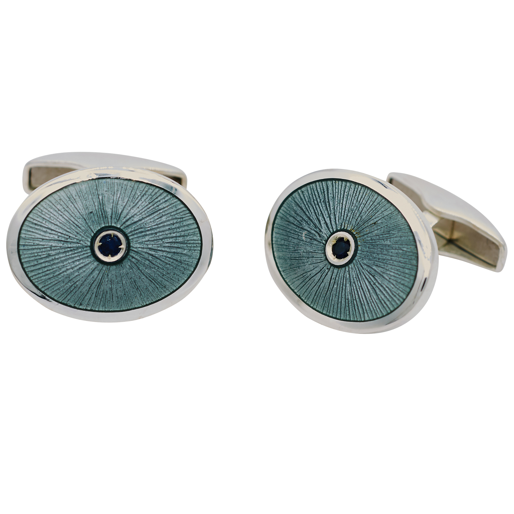 Sterling Silver Oval Grey Enamel Cufflinks with Sapphire Centre