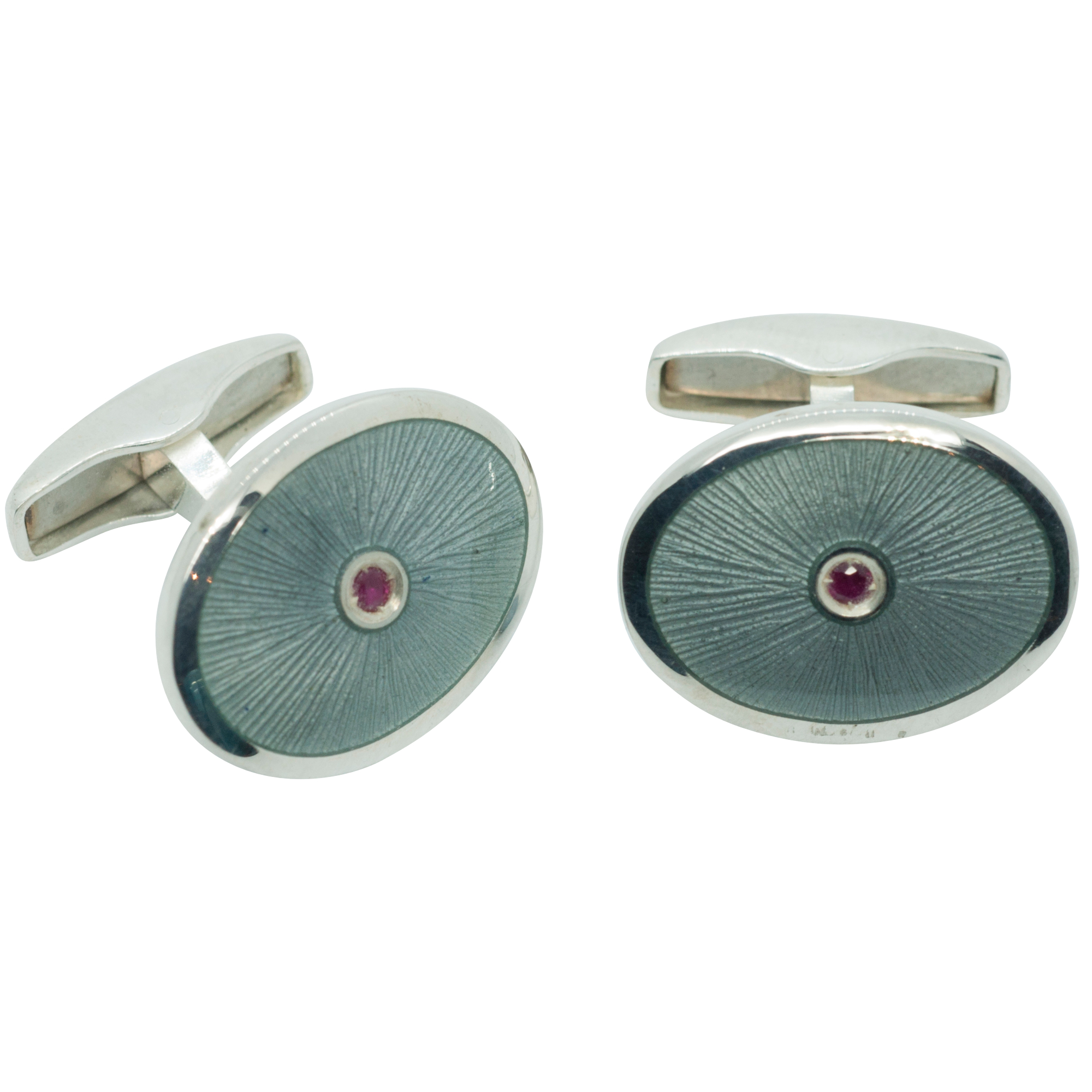 Sterling Silver Enamel Oval Cufflinks with Ruby Centre