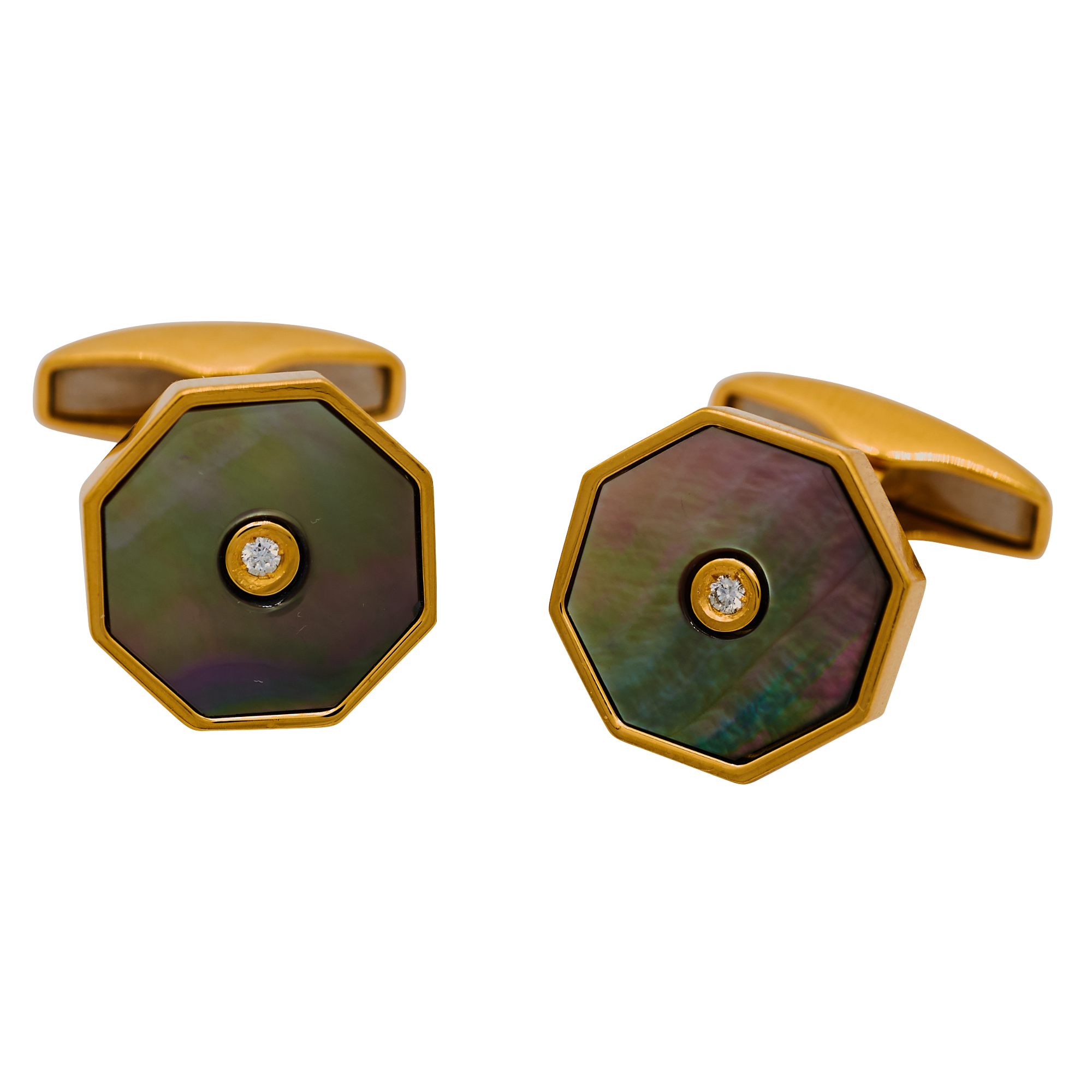 Sterling Silver Gilt Hexagon Shaped Black Mother of Pearl Diamond Centre Cufflinks