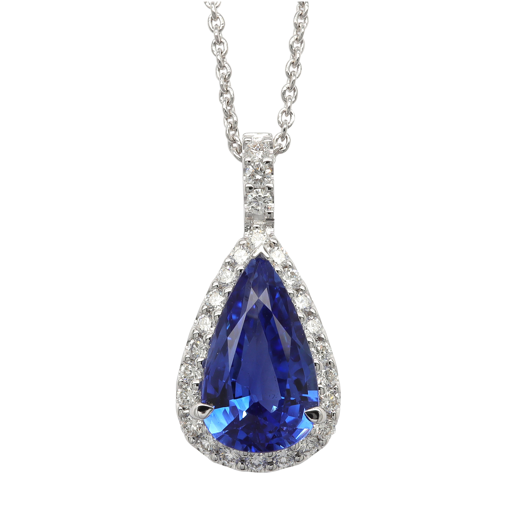 18ct White Gold Diamond & Sapphire Pendant