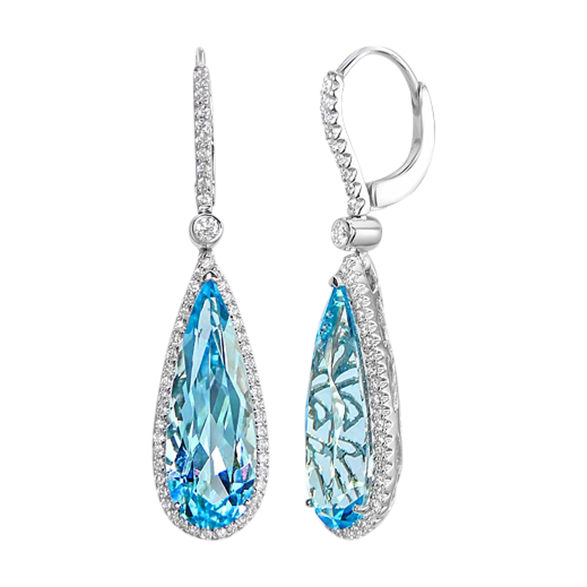 Cross Checkered Cut Pear Blue Topaz & Diamond, 18ct White Gold Drop Earrings
