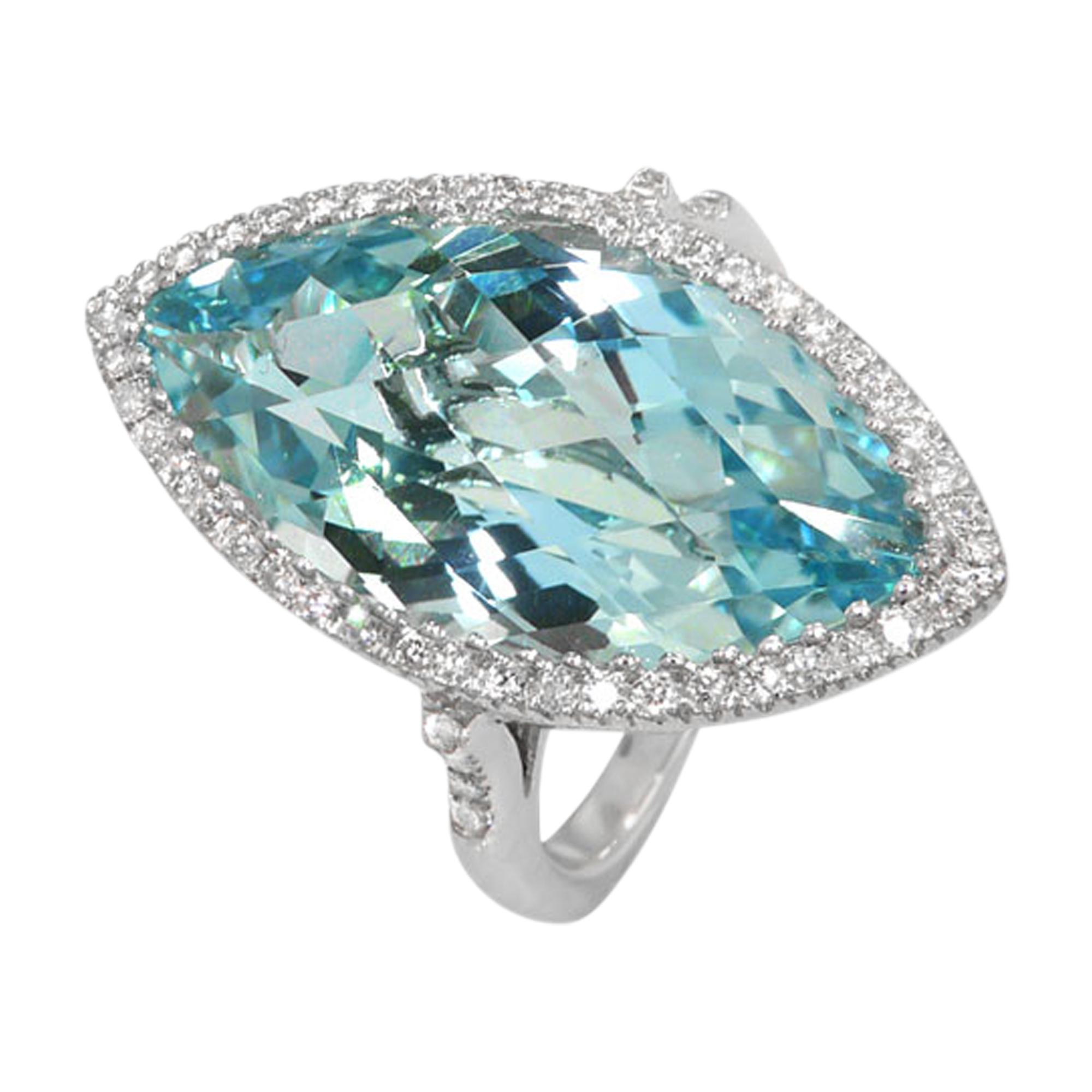 Marquis Checkerboard Cut Blue Topaz & Diamond 18ct White Gold Ring