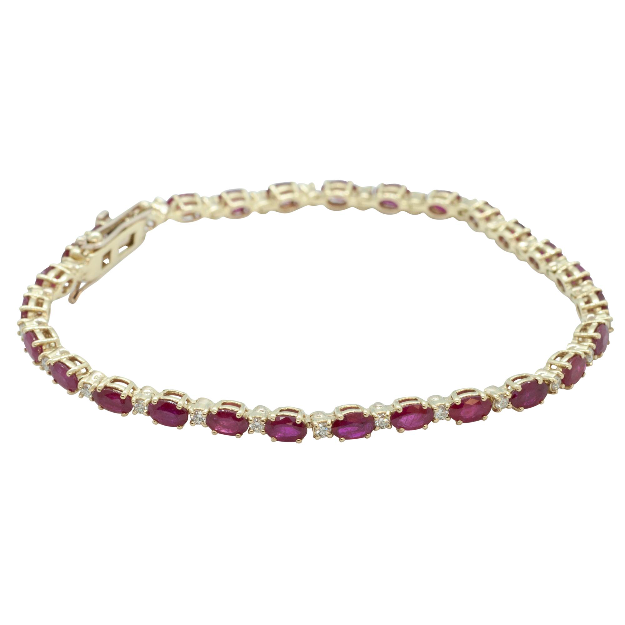 Oval Cut Ruby & Diamond 18ct Yellow Gold Bracelet