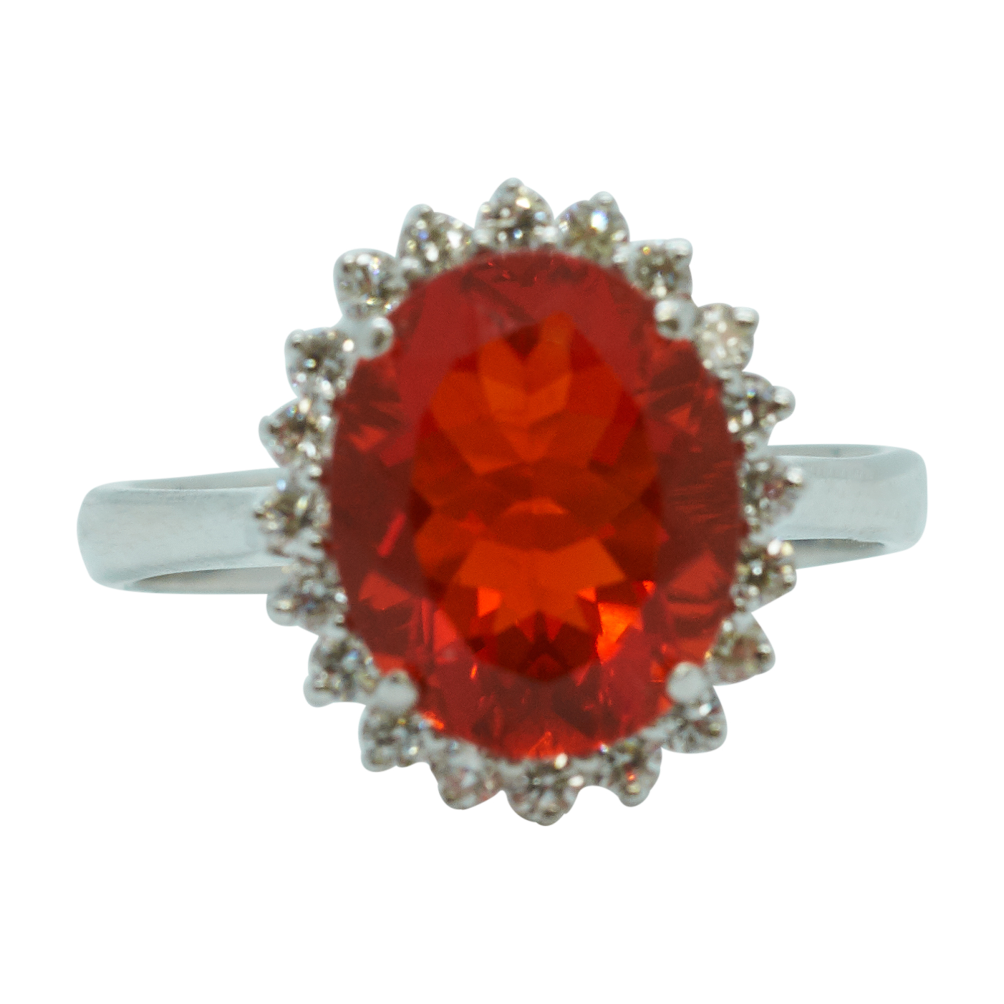 Mexican Fire Opal Diamond Cluster 18ct White Gold Ring