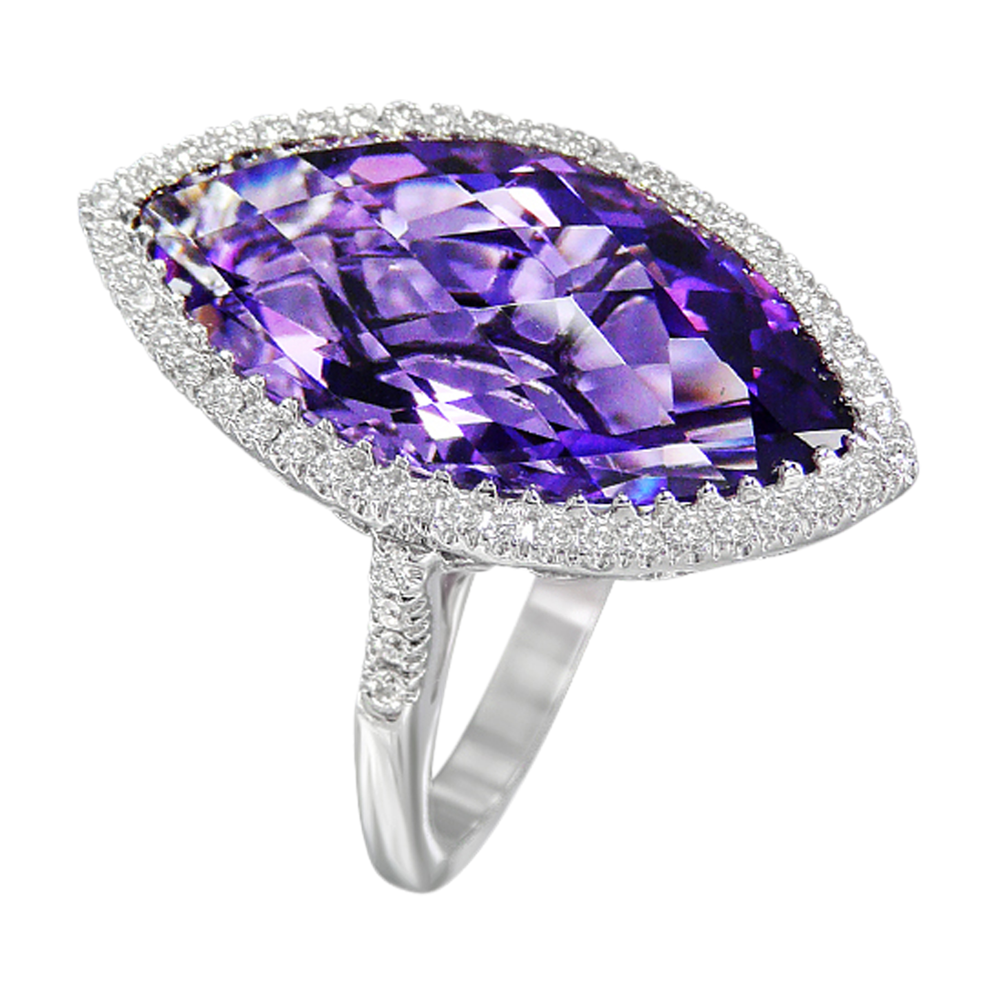 Marquis Checkerboard Cut Amethyst  & Diamond 18ct White Gold Ring
