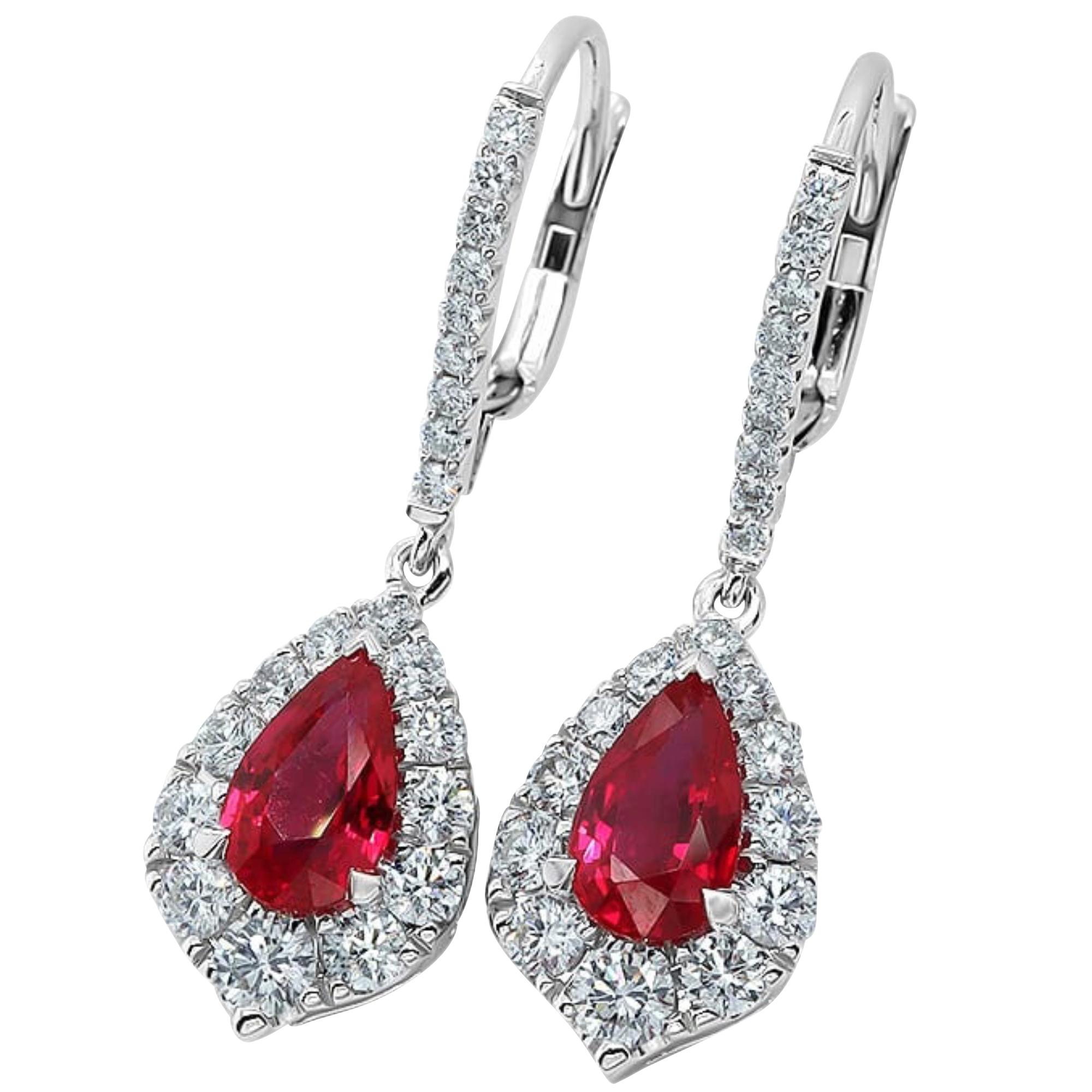 Ruby & Diamond 18ct White Gold Drop Earrings