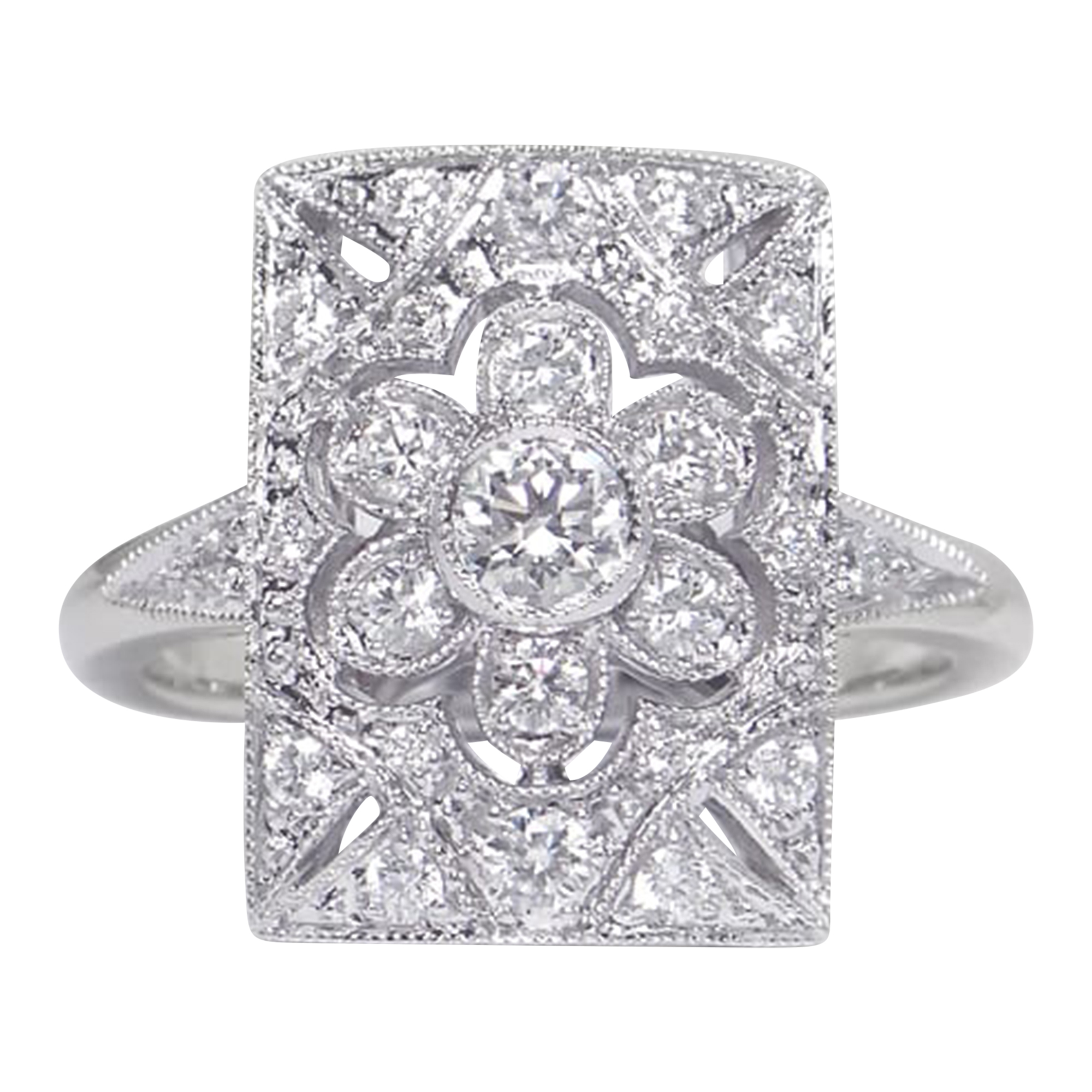 18ct White Gold Diamond Art Deco Ring