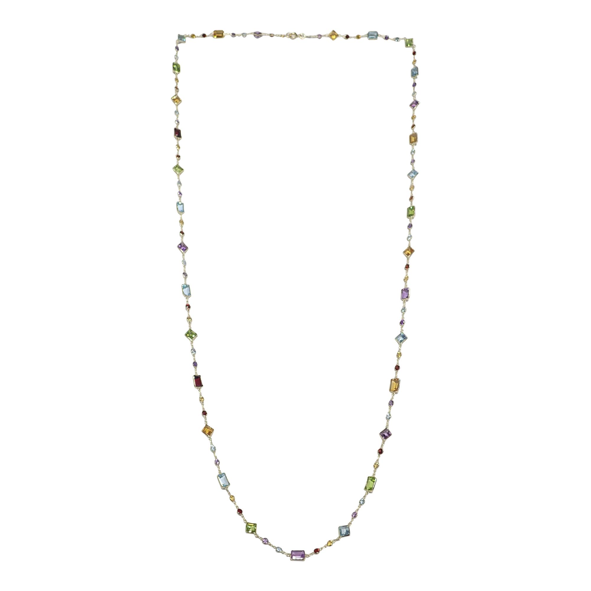18ct Yellow Gold Multi Shape Multi Gem Necklace