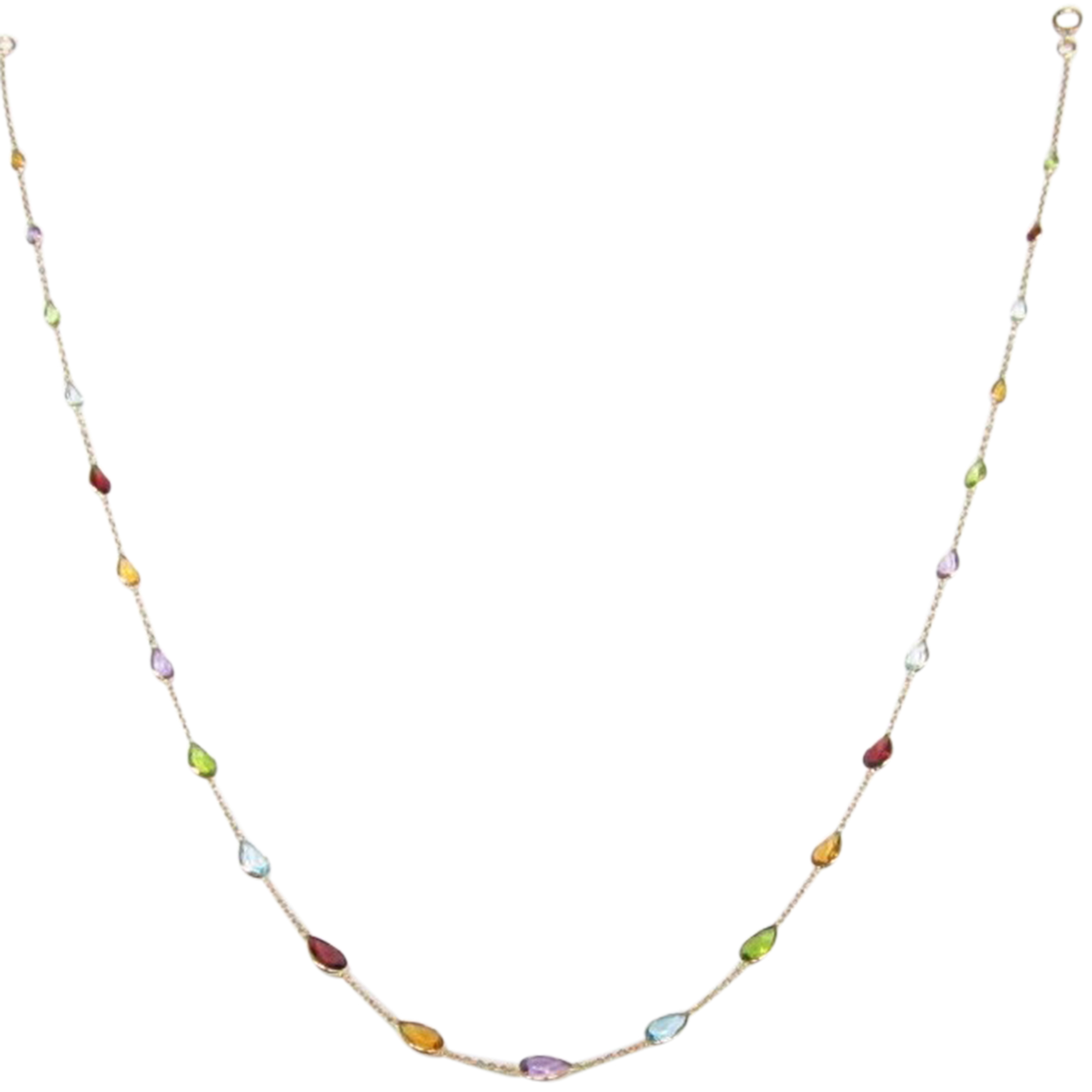 18ct Yellow Gold Pear Cut Multi Gem Necklace