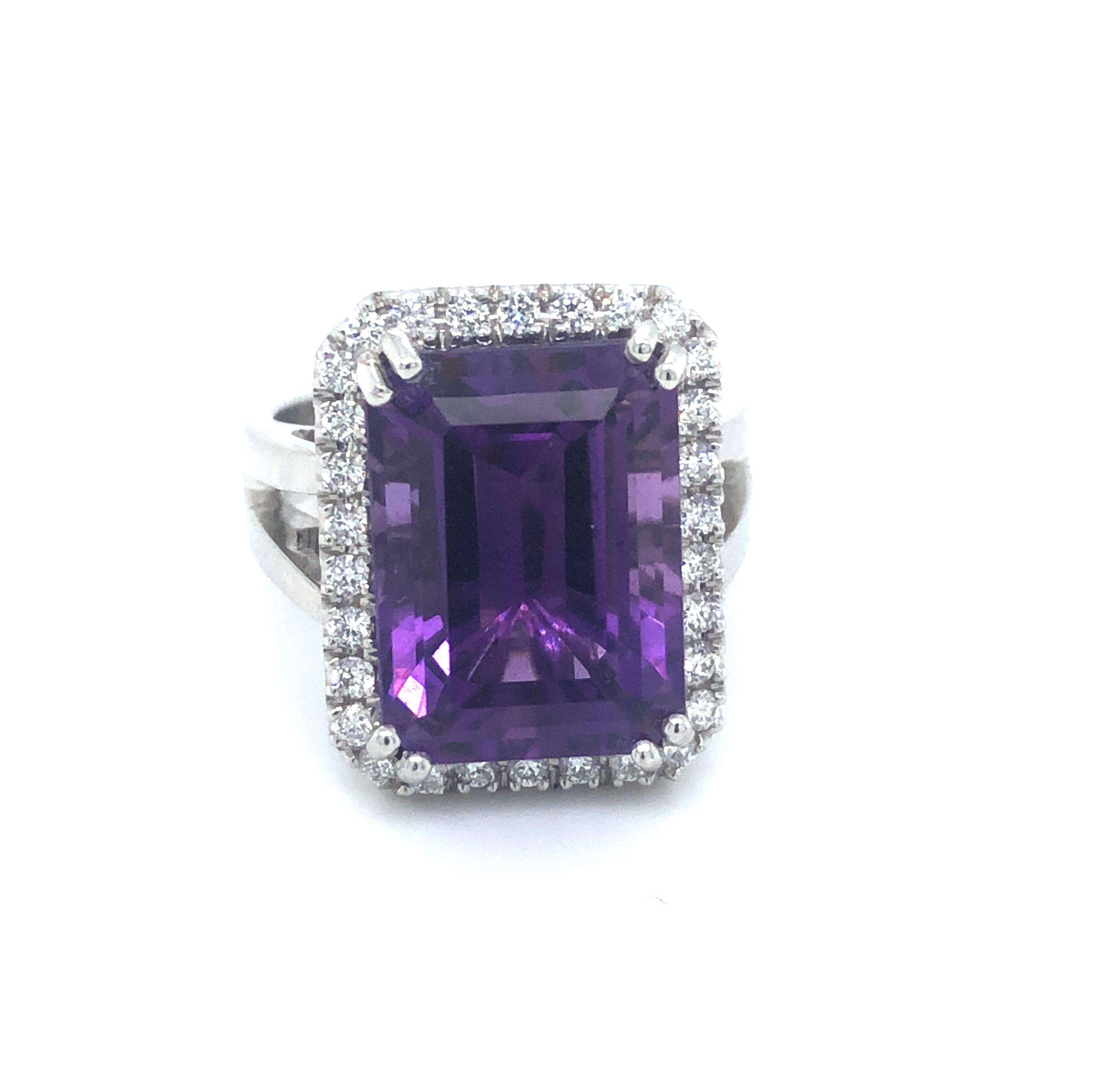 Emerald Cut Amethyst & Diamond 18ct White Gold Ring