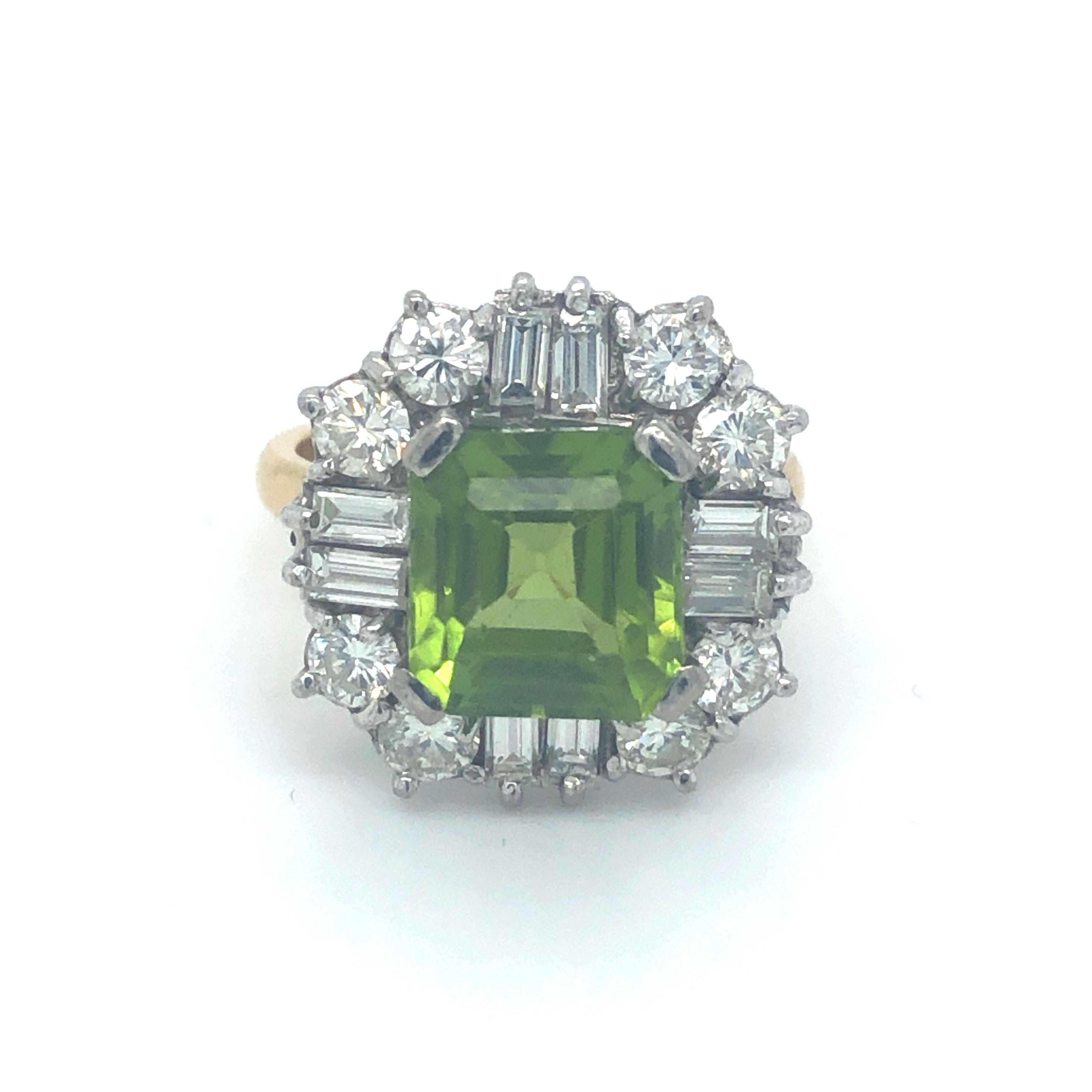 Peridot & Diamond 18ct Yellow Gold Ring