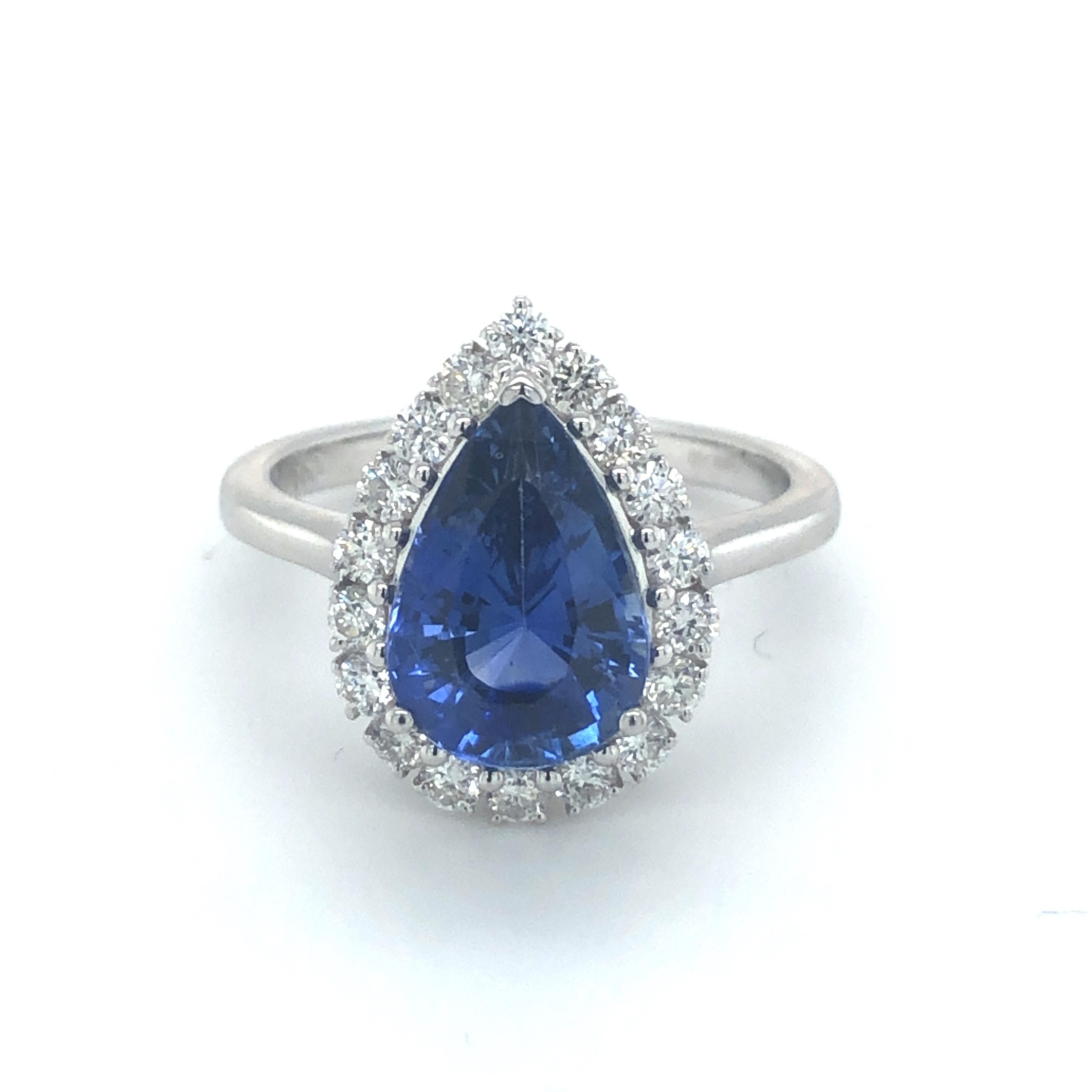 Pear Cut Sapphire & Diamond 18ct White Gold Ring