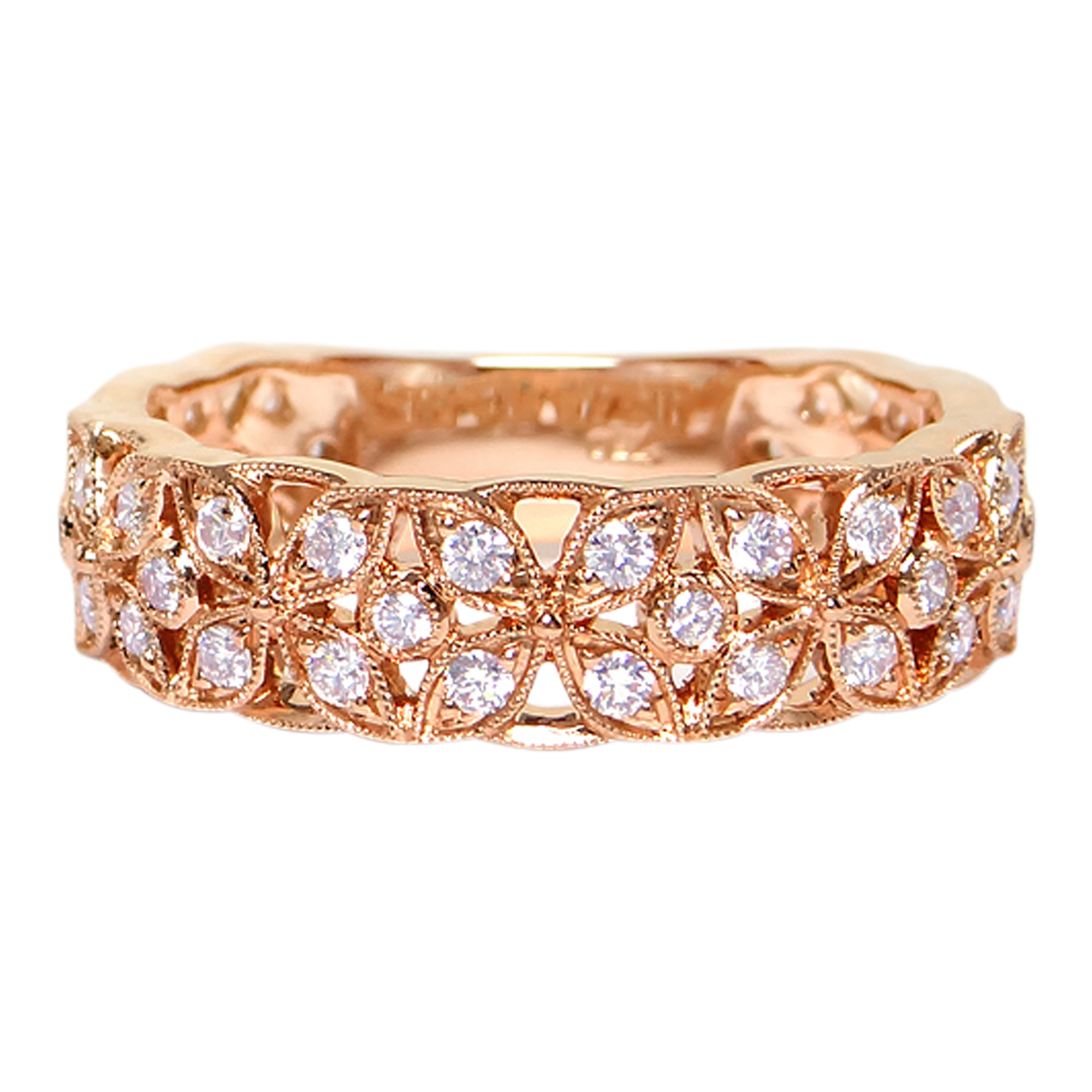 18ct Rose Gold 3/4 Eterninity Diamond Cross Ring