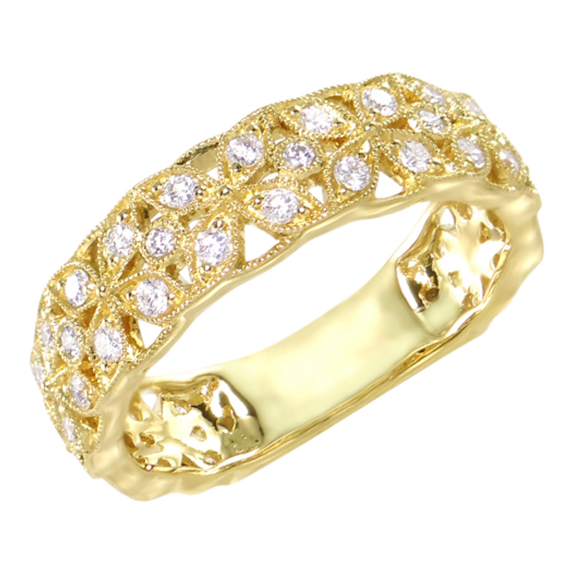 18ct Yellow Gold 3/4 Eterninity Diamond Cross Ring (Copy)