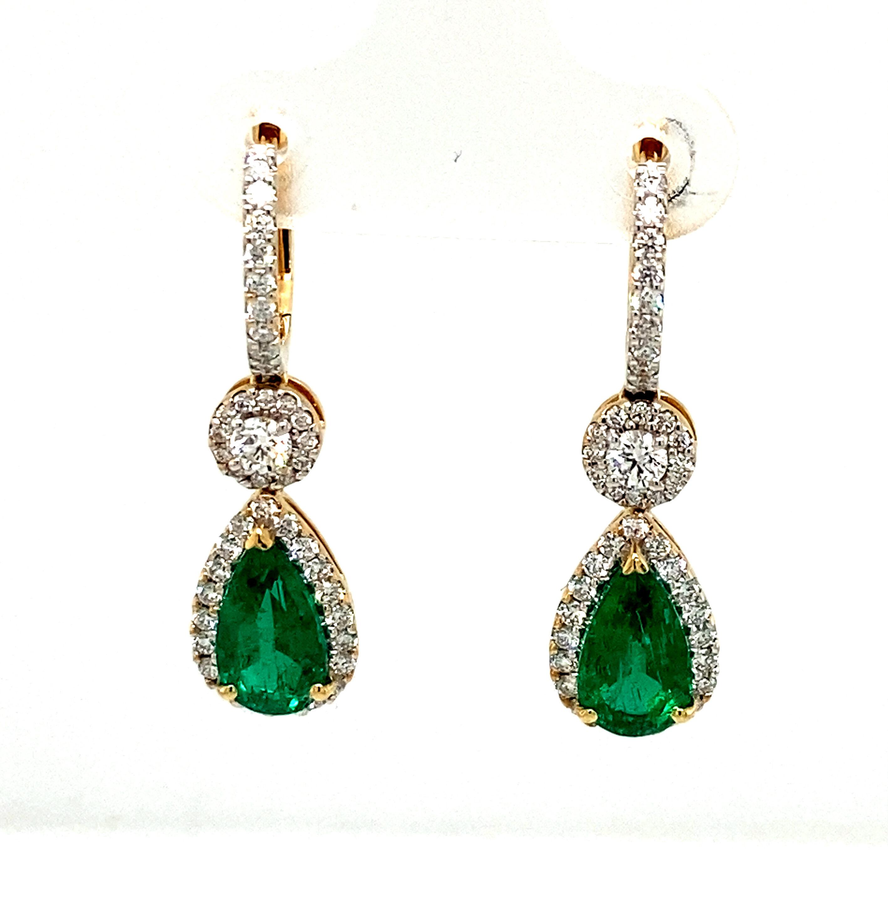 Emerald & Diamond 18ct Yellow Gold Drop Earrings (Certificate)