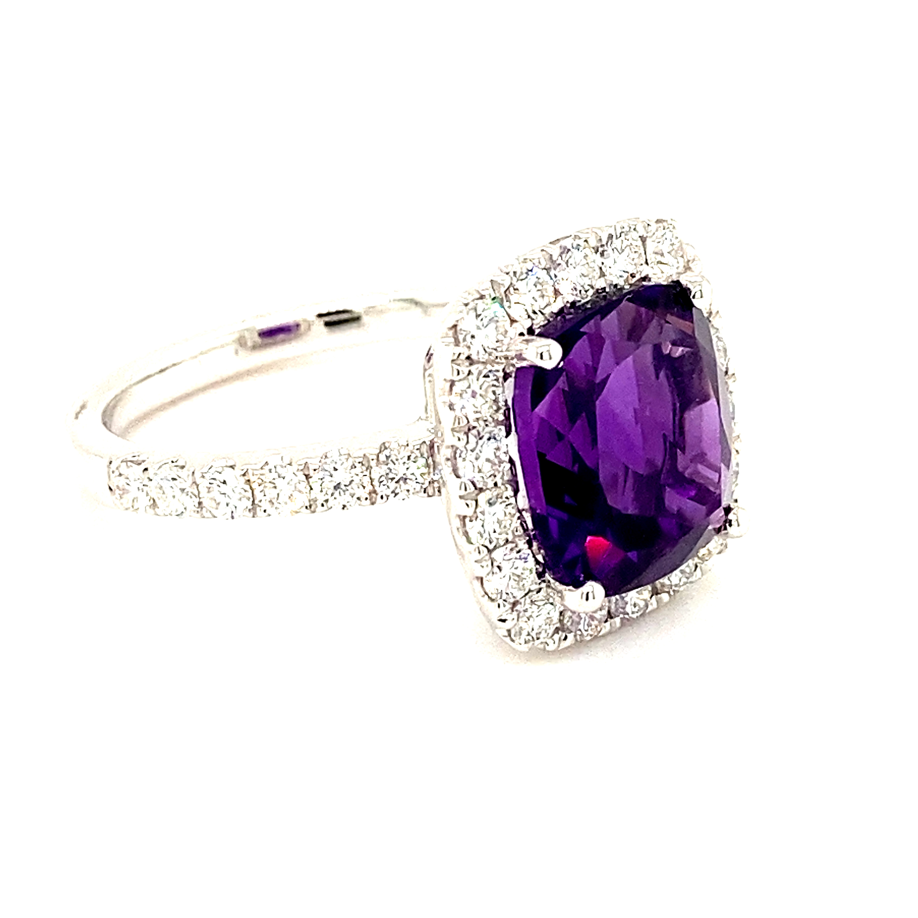 Amethyst & Diamond 18ct White Gold Ring