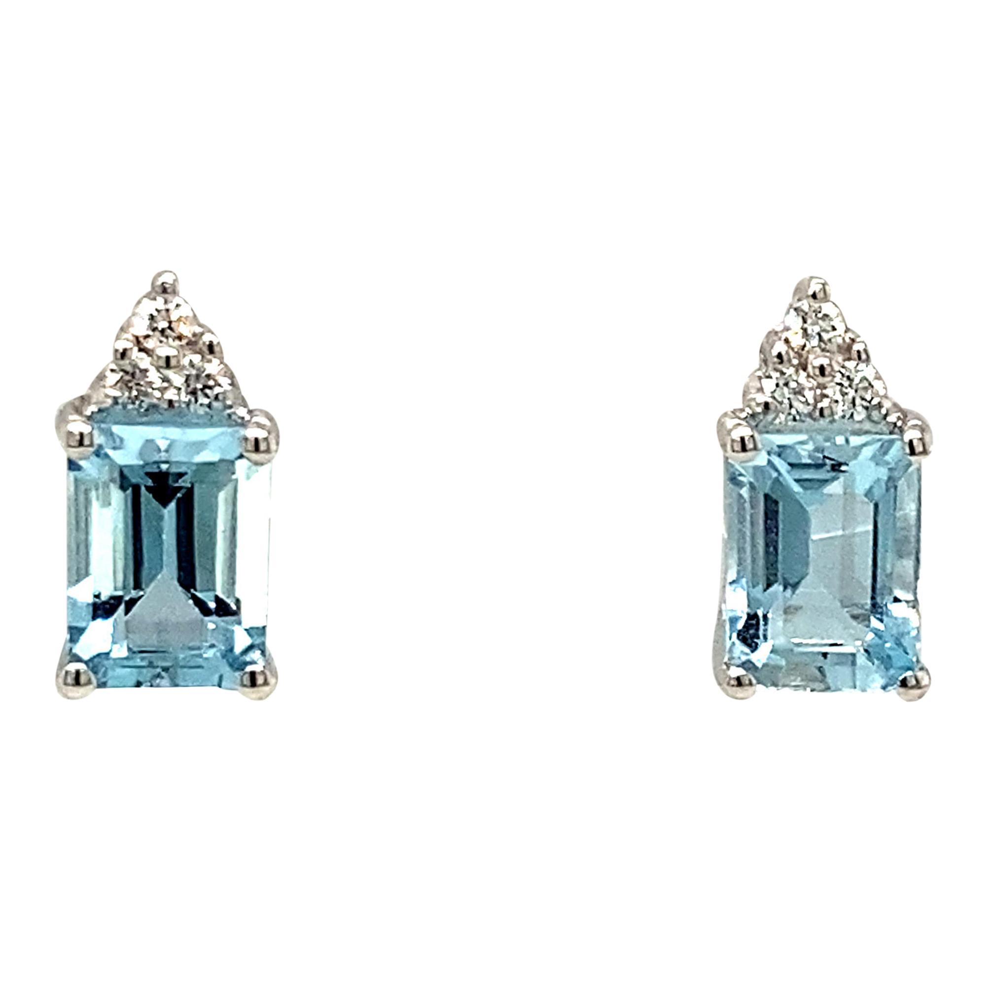 Octagon Cut Aquamarine & Diamond Trefoil 18ct White Gold Earrings