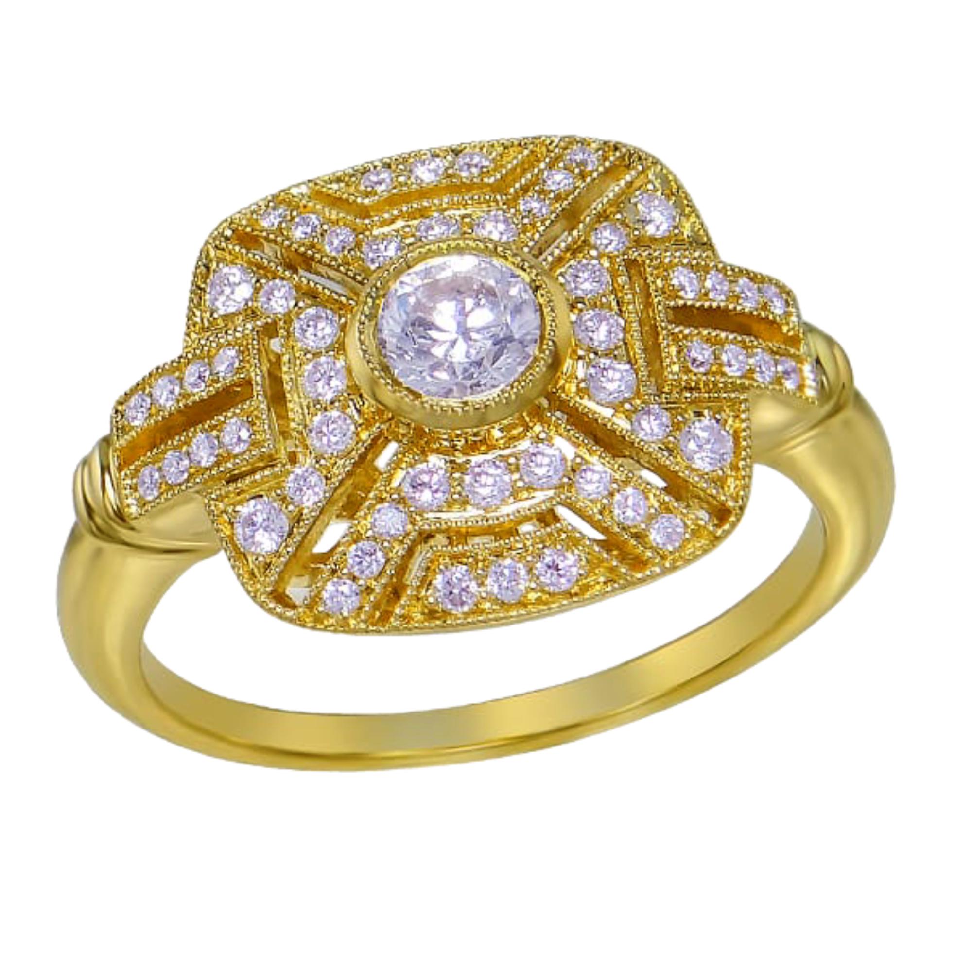 18ct Yellow Gold Art Deco Diamond Ring